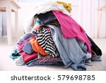 messy colorful clothing  closeup | Shutterstock . vector #579698785