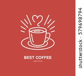coffee cup vector line icon.... | Shutterstock .eps vector #579698794