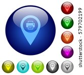 print gps map location icons on ... | Shutterstock .eps vector #579702199