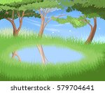 lake in forest vector nature... | Shutterstock .eps vector #579704641
