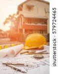 tools on architect blueprints... | Shutterstock . vector #579724465