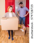 family moving into a new... | Shutterstock . vector #579728725