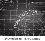 imagination text with gear... | Shutterstock .eps vector #579732889