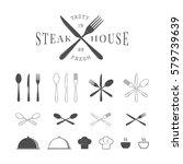 set of vintage restaurant or... | Shutterstock . vector #579739639