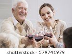 cheerful smiling senior father... | Shutterstock . vector #579741979