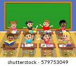 happy kids or children at desk... | Shutterstock .eps vector #579753049