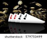 poker card on black table 3d... | Shutterstock . vector #579753499