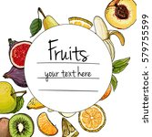 fruits drawn a color line on a... | Shutterstock .eps vector #579755599