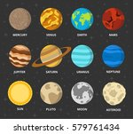 planet icon set. planets with... | Shutterstock .eps vector #579761434