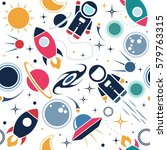 vector flat space seamless... | Shutterstock .eps vector #579763315