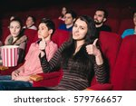 girl in a movie showing a... | Shutterstock . vector #579766657