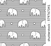 seamless pattern with stylized... | Shutterstock .eps vector #579767341