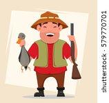 hunter holding rifle and shot...   Shutterstock .eps vector #579770701