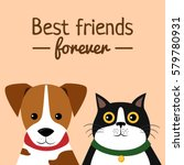 Stock vector cat and dog characters best friend forever vector illustration 579780931