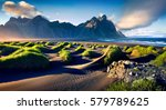 black sand dunes on the... | Shutterstock . vector #579789625