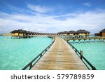 wooden water bungalows  maldives | Shutterstock . vector #579789859