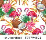 summer jungle pattern with with ... | Shutterstock .eps vector #579794521