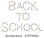Colored crayons and the words back to school. Vector file also available - stock photo