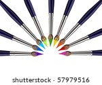 Nine brushes with paint color tips toward the center, forming a semicircle. White background. - stock photo