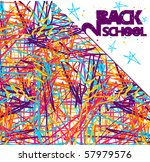 Back to school grunge background. Colorful texture of intersecting lines and blue stars on white. Vector file also available - stock photo
