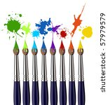 Eight brushes and colorful splattered paint. White background. - stock photo