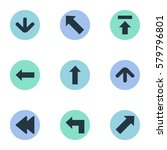 set of 9 simple indicator icons.... | Shutterstock .eps vector #579796801