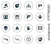 set of 16 simple trouble icons. ... | Shutterstock . vector #579798385