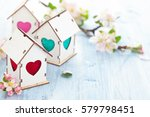 white wood houses with colorful ...   Shutterstock . vector #579798451