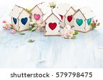 white wooden houses with... | Shutterstock . vector #579798475