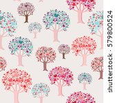 colorful trees with heart... | Shutterstock .eps vector #579800524