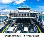 ferry boat crossing the kerch... | Shutterstock . vector #579801205