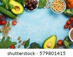 healthy diet concept. olives ... | Shutterstock . vector #579801415