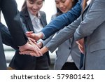 many hand of young business... | Shutterstock . vector #579801421