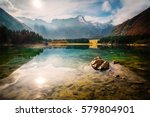 laghi di fusine lake  with... | Shutterstock . vector #579804901