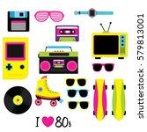 80s vector  vintage retro 80's... | Shutterstock .eps vector #579813001