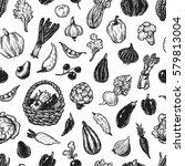 hand drawn pattern with... | Shutterstock .eps vector #579813004