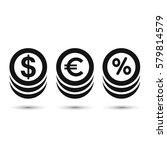 coins icon  dollar  euro and... | Shutterstock .eps vector #579814579