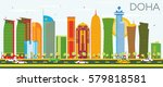 Stock vector doha skyline with color buildings and blue sky vector illustration business travel and tourism 579818581