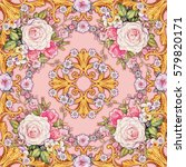 kerchief with roses pansies ... | Shutterstock . vector #579820171