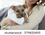 woman holding little puppy in...   Shutterstock . vector #579820405