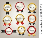 luxury premium golden labels... | Shutterstock .eps vector #579822217
