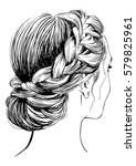 braided hairstyles | Shutterstock .eps vector #579825961