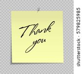 yellow sticky note with thank... | Shutterstock .eps vector #579825985