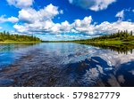 river horizon reflection... | Shutterstock . vector #579827779