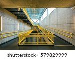 ramp way with yellow handrail... | Shutterstock . vector #579829999
