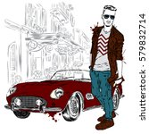 handsome guy in stylish clothes.... | Shutterstock .eps vector #579832714