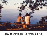 family sitting benches views. | Shutterstock . vector #579836575