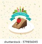 vector slice cake chocolate in... | Shutterstock .eps vector #579856045