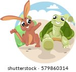 Stock vector storybook illustration featuring the classic fable of the tortoise and the hare 579860314