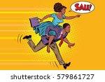 wife riding husband runs on... | Shutterstock .eps vector #579861727